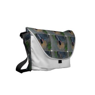 Curious African Crowned Crane Small Messenger Bag
