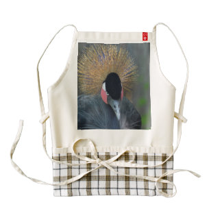 Curious African Crowned Crane Zazzle HEART Apron