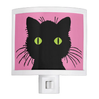 Curious and Cute Green-Eyed Black Cat Design Night Light