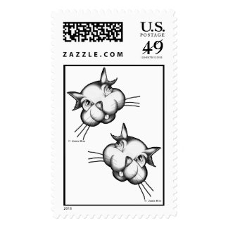 Curious as a pair of cats postage stamp