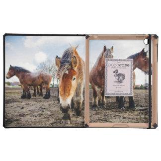 Curious Belgian Draft Horses From Below iPad Case