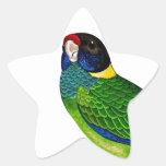 Curious Bird Blue Green Yellow Parrot Star Sticker