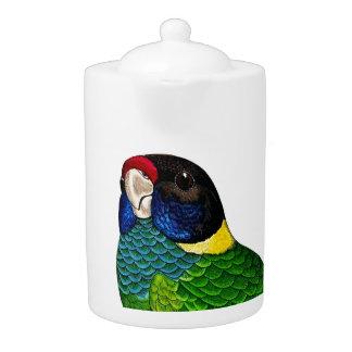 Curious Bird Blue Green Yellow Parrot Teapot
