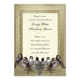Curious Birds Fancy Gold Vintage Wedding Invite