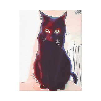 Curious Black Cat canvas print