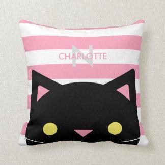 Curious Black Cat | Stripes | Monogram Throw Pillow