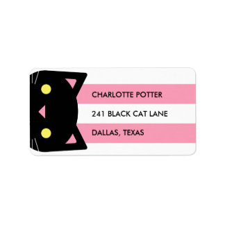 Curious Black Cat | Stripes | Pink & White Label