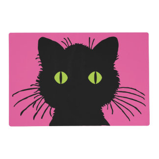 Curious Black Cat with Large Green Eyes Placemat