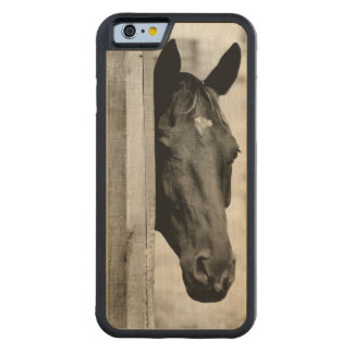 Curious Black Horse Carved Maple iPhone 6 Bumper Case