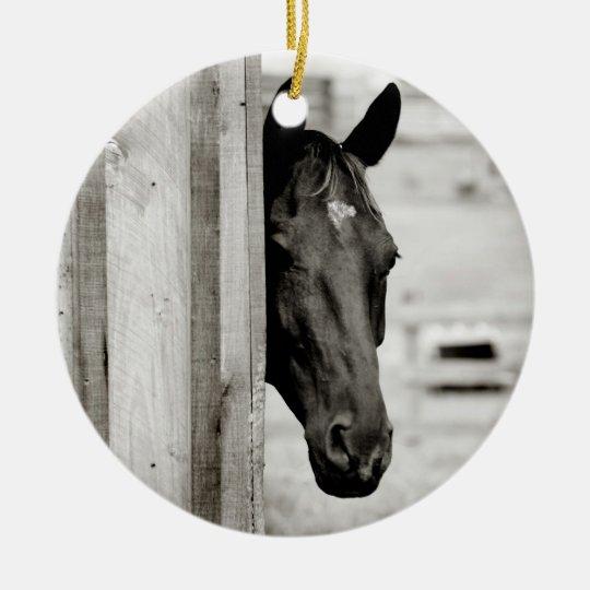 Curious Black Horse Ceramic Ornament