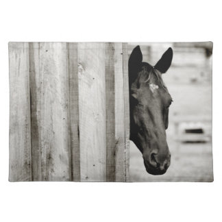 Curious Black Horse Cloth Placemat