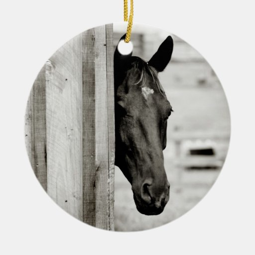 Curious Black Horse Double-Sided Ceramic Round Christmas Ornament