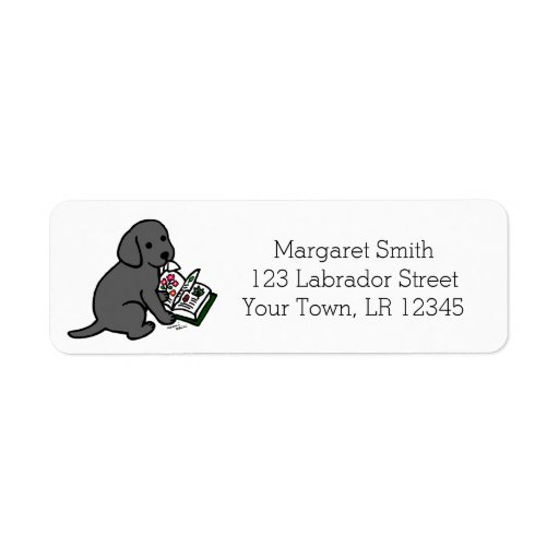 Curious Black Labrador Puppy Address Labels