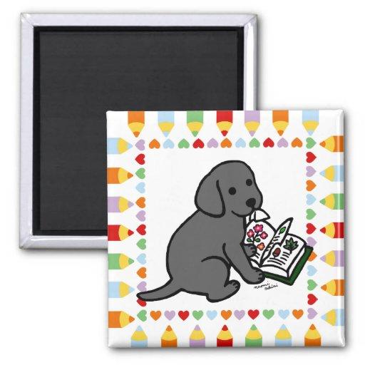 Curious Black Labrador Puppy Magnet
