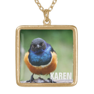 Curious Blue Bird Photo Closeup Personalized Name Gold Plated Necklace