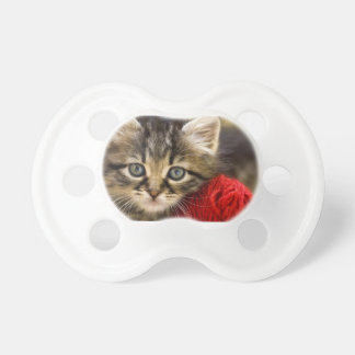 Curious Blue Eyed Kitten With a Red Ball of Yarn Pacifier