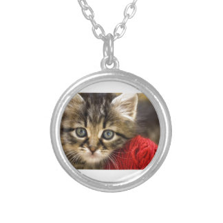 Curious Blue Eyed Kitten With a Red Ball of Yarn Silver Plated Necklace