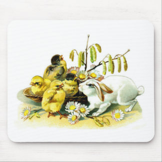 Curious Bunny and Chicks Mouse Pad