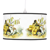 Curious Bunny and Chicks Pendant Lamp