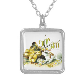 Curious Bunny and Chicks Silver Plated Necklace