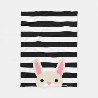 Curious Bunny   Stripes   Black & White Fleece Blanket