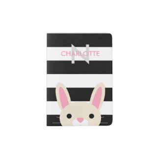 Curious Bunny | Stripes | Monogram Passport Holder