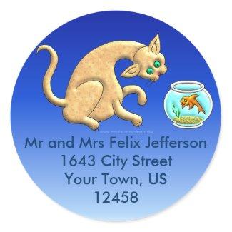 Curious Cat Address Label sticker
