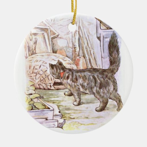 Curious Cat Artwork Double-Sided Ceramic Round Christmas Ornament