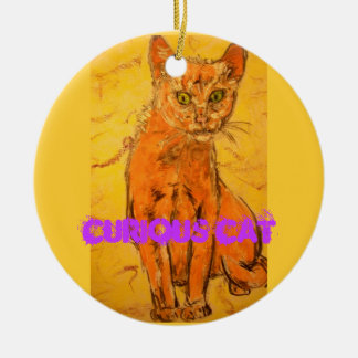 curious cat design ceramic ornament