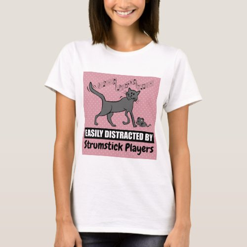 Curious Cat Distracted by Strumstick Players Music Notes Basic T-Shirt
