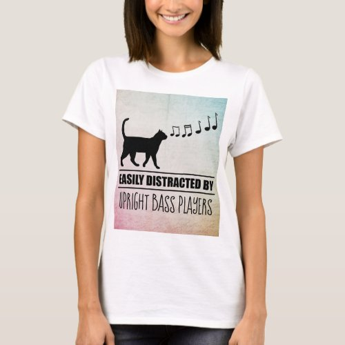 Curious Cat Easily Distracted by Upright Bass Players Music Notes Basic T-Shirt