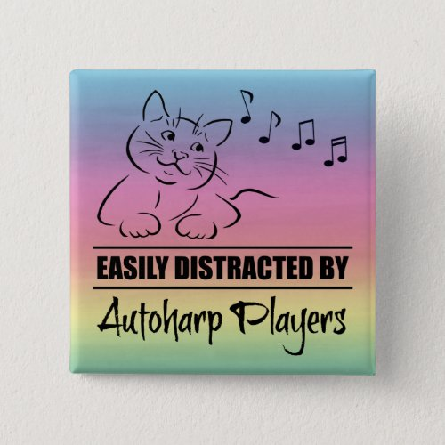 Curious Cat Easily Distracted by Autoharp Players Music Notes Rainbow 2-inch Square Button