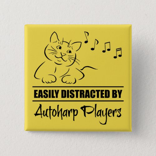 Curious Cat Easily Distracted by Autoharp Players Music Notes 2-inch Square Button