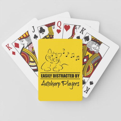 Curious Cat Easily Distracted by Autoharp Players Music Notes Playing Cards