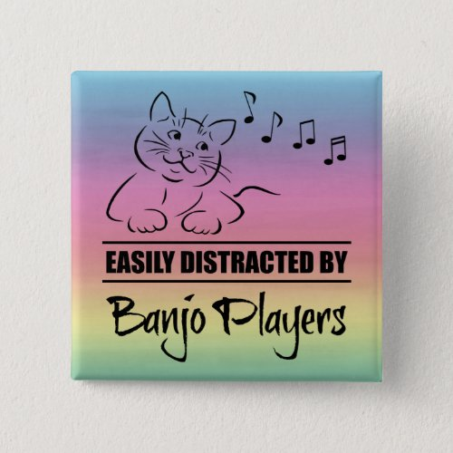 Curious Cat Easily Distracted by Banjo Players Music Notes Rainbow 2-inch Square Button