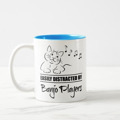 Curious Cat Easily Distracted by Banjo Players Music Notes Two-Tone Coffee Mug