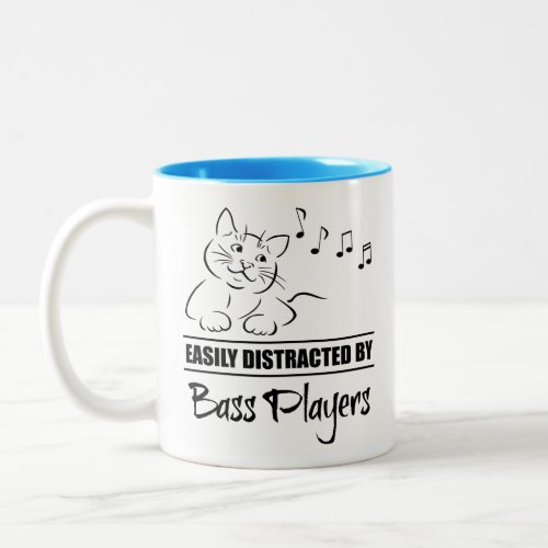 Curious Cat Easily Distracted by Bass Players Music Notes Two-Tone Coffee Mug