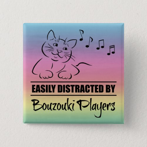 Curious Cat Easily Distracted by Bouzouki Players Music Notes Rainbow 2-inch Square Button