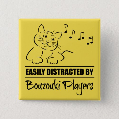 Curious Cat Easily Distracted by Bouzouki Players Music Notes 2-inch Square Button