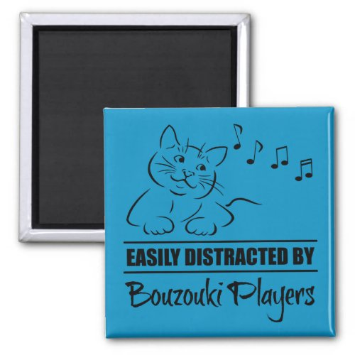 Curious Cat Easily Distracted by Bouzouki Players Music Notes 2-inch Square Magnet