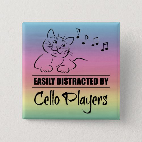 Curious Cat Easily Distracted by Cello Players Music Notes Rainbow 2-inch Square Button
