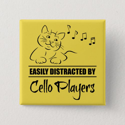 Curious Cat Easily Distracted by Cello Players Music Notes 2-inch Square Button