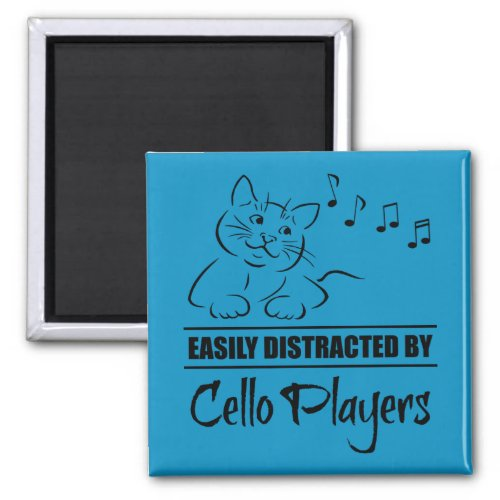 Curious Cat Easily Distracted by Cello Players Music Notes 2-inch Square Magnet