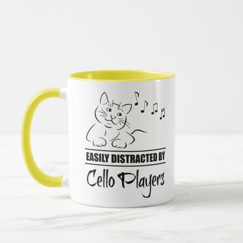 Curious Cartoon Cat Easily Distracted by Cello Players Music Notes Coffee Mug