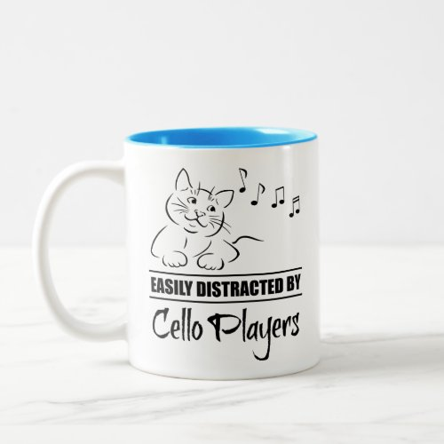 Curious Cat Easily Distracted by Cello Players Music Notes Two-Tone Coffee Mug