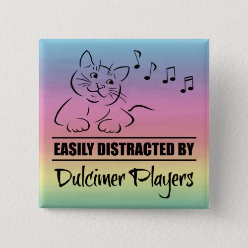 Curious Cat Easily Distracted by Dulcimer Players Music Notes Rainbow 2-inch Square Button