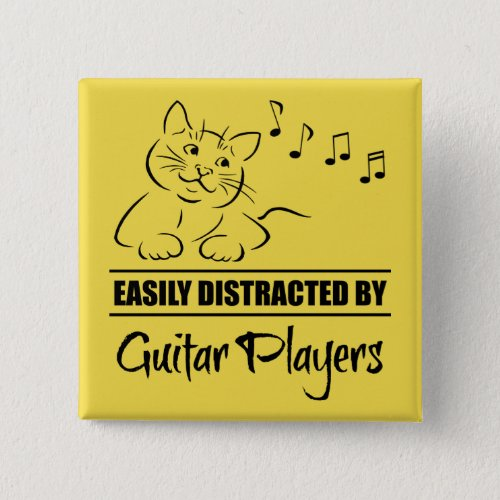 Curious Cat Easily Distracted by Guitar Players Music Notes 2-inch Square Button