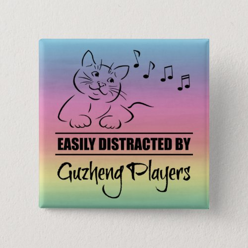 Curious Cat Easily Distracted by Guzheng Players Music Notes Rainbow 2-inch Square Button
