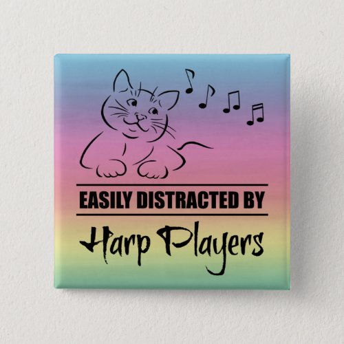 Curious Cat Easily Distracted by Harp Players Music Notes Rainbow 2-inch Square Button