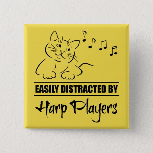 Curious Cat Easily Distracted by Harp Players Music Notes 2-inch Square Button